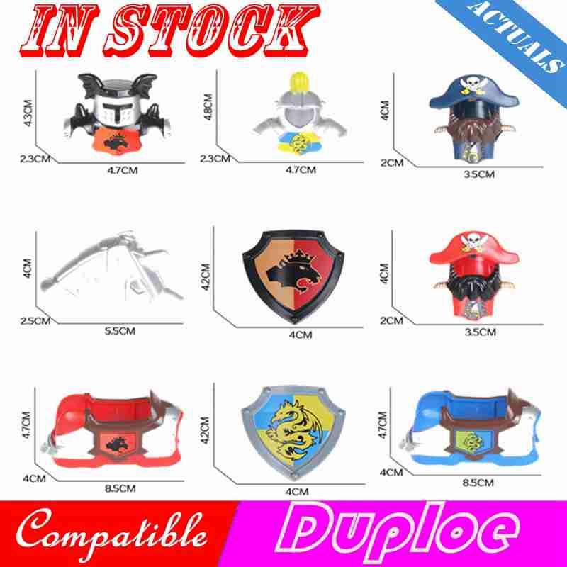Weapons Duploe Castle Knight Printed Armor Shield Vest Weapon Crown King Dragon Helmet Blocks MOC Toys For Kids Compatible Duplo