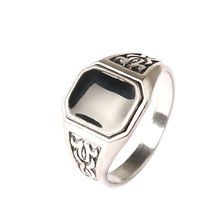 Square Plating alloy ancient Resist allergic ring The planeashion noble ring for men Jewelry Free Shipping