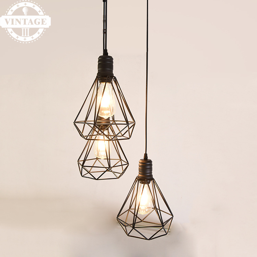 American Industrial style Vintage Diamond Cage E27 Pendant Light Sconce Hanging Droplight Lamp (no bulb included)<br>