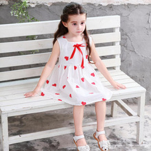New Children Girl Clothing Set Sleeveless Dress Red Bow Hearts Princess Party Dress  For 2-9 Year Girl,J515