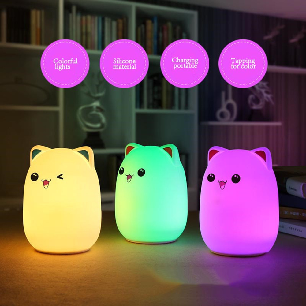 Colorful LED Night Light Lovely Silicone Cartoon Bear Rechargeable Touch Desk Bedroom Decor Tablet Lamp for Kids Girl (10)