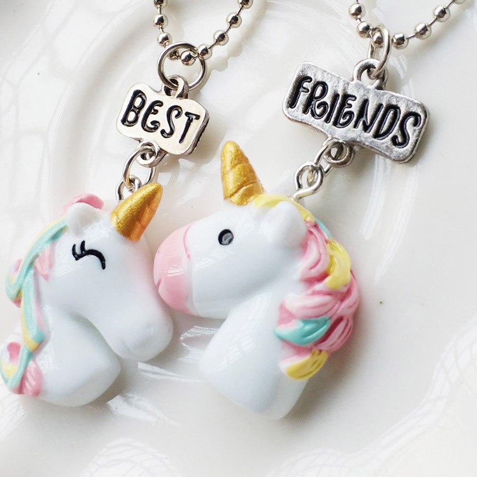 2PCS/Lot Best Friends Unicorn Pendant Necklaces