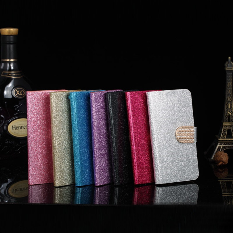 Fashion Bling Glitter Flip Book Style Wallet Case Cover Fundas ZTE BA510 Blade A510 510 Phone Case Card Slot