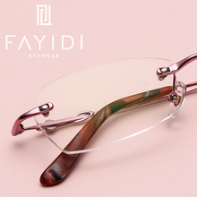 Fashion Metal eyeglasses frame optical super light computer myopia prescription rimless glasses frame For women #F129(China)