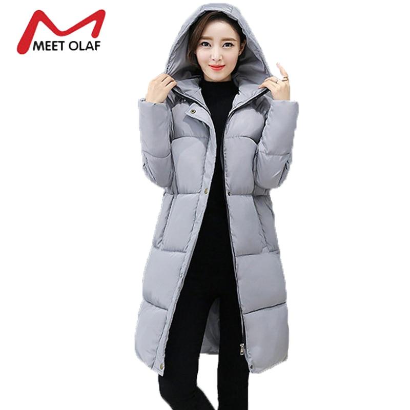 2017 New Winter Down Jackets Long Hood Solid Long Women Winter Coats Cotton Padded Loose Parka Thick Outwear Plus Size 3XL YL987Îäåæäà è àêñåññóàðû<br><br>