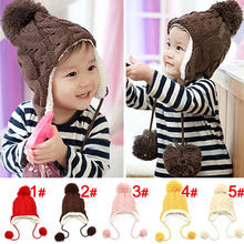 5 Colors Cute Baby Toddler Boys Girls Dough-twist Style Fleece Lined Warm Winter Wrap Ears Warm Knitted Crochet Beanie Cap Hat