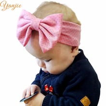 "1PC 2018 Hot-sale Girl 5"" Cotton Dot Heart Elastic Bow Headband Hair Style Headbands Accessories For kIds Headwrap Bandeau(China)"