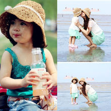 ITFABS Ladies Child Hot Summer Beach Floppy Derby Casual Hat Wide Large Brim Straw Cap Bows