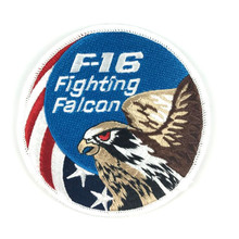 2pcs Embroidery F16 Fighting Falcon Patch 3D Tactical Patch Combat Eagle Armband Hook And loops Military Morale Badge 10cm(China)