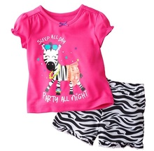 Hooyi 2017 Summer Girls Clothes Set Pink Zebra Children Sport Suits Toddler Girls Clothing Fashion Suit For Boy 100% Cotton