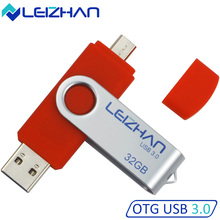 LEIZHAN USB 3.0 Flash Drives 32 gb OTG Pen Drive 16GB PenDrive USB Stick 8GB Micro USB 64G For Samsung ect. Smart Android Phone(China)