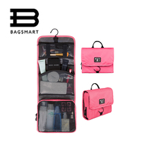 BAGSMART Trave Make up Bag Hanging Toiletry Bag Cosmetic Carry On Case Folding Makeup Organizer with Breathable Mesh Pockets(China)