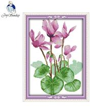 Joy Sunday flower style Purple flower Embroidery Kits Counted Cross outline for cross stitch designs patterns