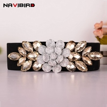 Buy Elegant Wide Elastic Corset Belt Women Jeweled Girdle Rhinestones Floral Belts Luxury Crystal Retro Girls Ceinture for $10.16 in AliExpress store
