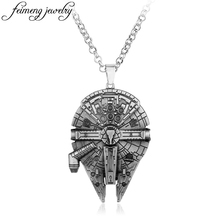 Movie Star Wars Millennium Falcon Necklace Europe American Fashion Movie Jewelry Charm Chain Vintage Silver Pendant Accessories(China)
