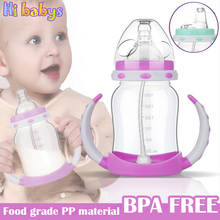 180ML Baby Feeding Cup Baby Feeding Bottles Water Bottles with Handles 2pcs Milk Nibbler Drinking Cup Baby Nursing bottle(China)