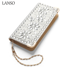 LANSO New Design Women Wallet Flower Rhinestone Crystal Purse Fashion Leather Casual Wallets Evening Bags Ladies Day Clutches