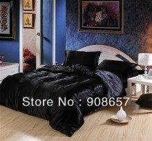 black color luxurious Smooth Shiny imitated silk satin fabric bed linen girls bedding comforter queen/full duvet cover sheet set