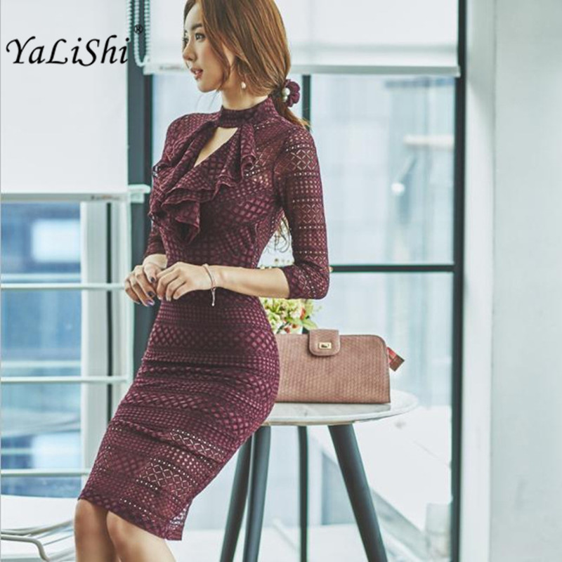 2019 Spring Womens high quality 3/4 Sleeve Office Midi Bandage Sexy Party Dress Vintage Bodycon Vestidos De Festa Lace Dresses