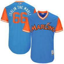 "MLB Men's Miami Marlins Jarlin Garcia ""Jarlin The Marlin"" Baseball Blue 2017 Players Weekend Authentic Jersey(China)"