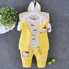 New Autumn Hello Kitty Children Clothing Set Girls Leisure Clothes Baby Girls Suit Sleeveless Coats+T Shirts+Pants suit