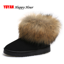High Quality Hand made Rabbit Hair Women Snow Boots 2017 Winter Boots Cotton Warm Shoes Women's Boots Ladies Ankle Botas Y002(China)