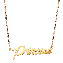 "AOLOSHOW Name "" Princess "" Women Personalized Gold Nameplate Necklace Stainless Script Font Letters Name Necklace ,NL-2406-3"