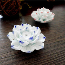 Exquisite Lotus Flower Ceramic Incense Burner Blue and White Vintage Style Accessories Sticks Incense Tower Censer Home Decor