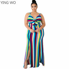 7ea8a452140 L-XXXXL Big Woman Rainbow Striped Maxi Dress Hot Summer Vacation Style V  Neck Front Split Out Ankle-length Plus Size Dresses