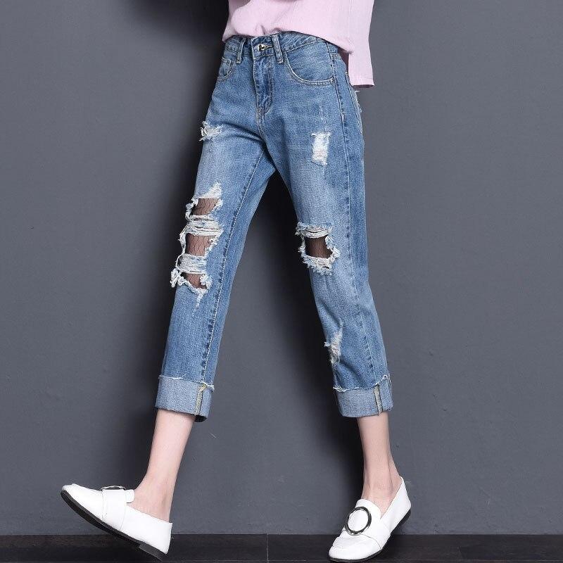 2017 Brand summer grid Cotton ripped jeans for women Sexy ripped jeans women Leisure Holes jeans cintura altaÎäåæäà è àêñåññóàðû<br><br>