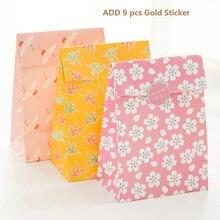 9 компл. бумажный мешок розовый Сакура Цветет вишня оригами дизайн подарочной упаковки день рождения конфеты Холдинг(China)