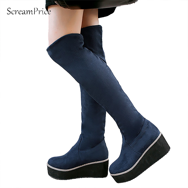 New Fall fashion elastic knee boots Female platform boots Large size shoes women Motorcycle boots Black Blue Red<br>