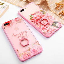 SoCouple Flower Relief Case For iPhone 7 Cases For iphone 6 6s 6/7/8 Plus 8 Ring Grip Lace Peach Hollow Pattern Phone Case Cover