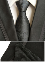 Unique Designer's Ties Classic Black Paisley Necktie with Woven Handkerchief for Men