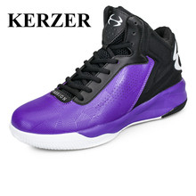 New Men Basketball Shoes High Top Sport Sneakers Leather Training Boots Purple Black Basketball Boots Cheap Athletic Shoes(China)
