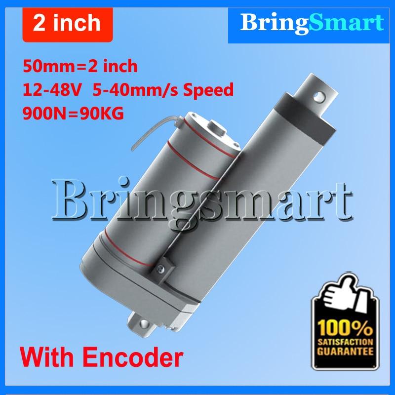 Bringsmart Hot L-TGA-Y 50mm 2 Inch electric linear actuator with Encoder 900N 90KG load 12-48V Tubular Motor Stroke<br><br>Aliexpress
