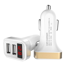 Universal 2 usb Car Charger Adapter for HTC HD7 I Touch Dual GSM LED Digital Display Voltage for PEUGEOT 407 607 Fractal