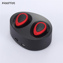 HAAYOT Wireless Binaural Bluetooth Earphone With Charger Box Mic Mini Miniature In-Ear Handsfree Headset Stereo Music For Phones(China)