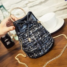 Ladies Bow Bucket  Vintage Mini Women Leather Crossbody bag Messenger Shoulder bag Purse Drawstring Handbag Sling cross body Bag