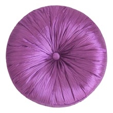 "Free shipping! Purple Faux Silk Pleat Round Cushion 16"" Dia With 100% Polyester Filling"