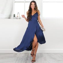Buy Slip Satin Backless Bandage Split Sexy Long Dress Women Pajamas Summer Dress Evening Party Elegant Blue Maxi Dresses Vestidos for $11.99 in AliExpress store