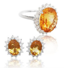 Jewelry set Natural citrine Set include 1pc ring 1pair stud earring 925 sterling silver 4.2ct*1pc,1.25ct*2pcs gems #16030909