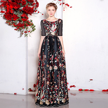 Sexy Black Lace Evening Dress 2017 Half Sleeves Formal Evening Party Gowns Floral Flowers Pattern Print Long Prom Dresses MN026(China)