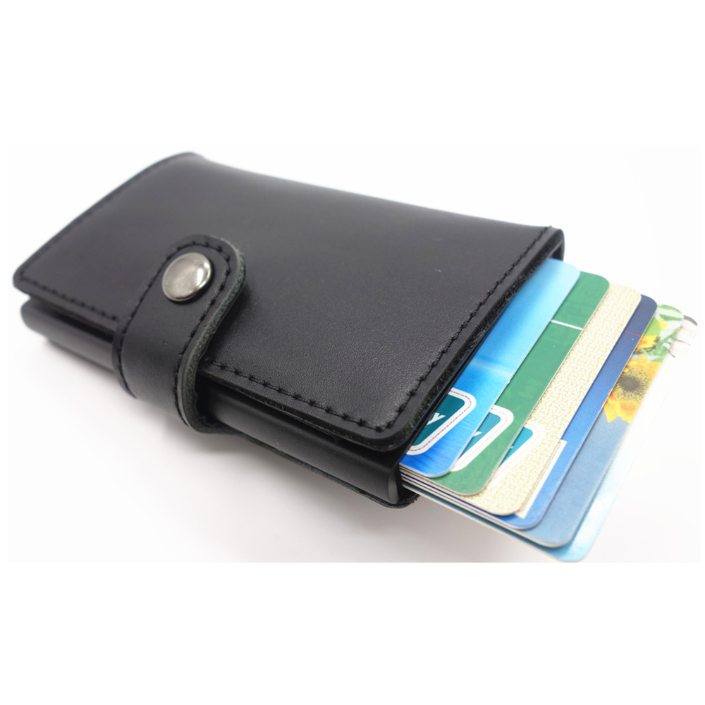 Antitheft Men Wallets Genuine Leather Slim Mini RFID Wallet Automatic Business Card Holder Aluminum Credit Card Case Protector<br><br>Aliexpress