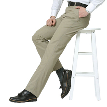 Brand Summer Business Casual Men Suit 100% Cotton Formal Pants Wedding Bridegroom Loose Work Wear Trousers 6 Color Size 28~38