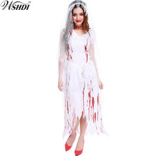 Women Wandering Soul in the Night Halloween Party Vampire Zombies Costumes Sexy White Bloodstain Ghost Bride Fancy Dress