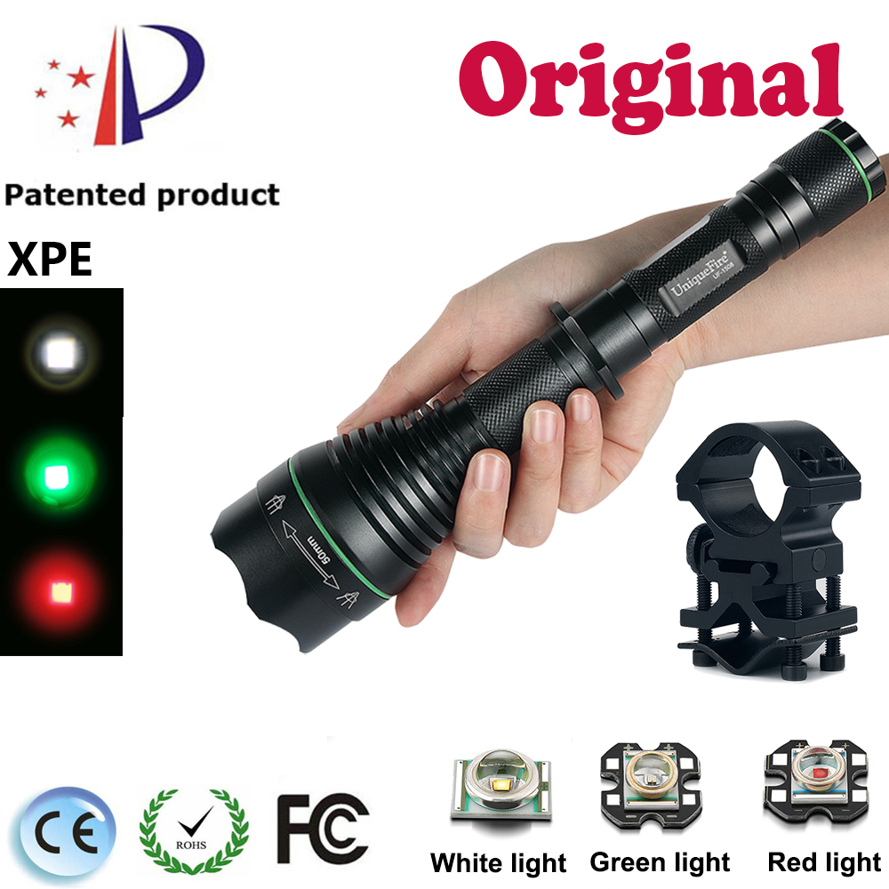 UniqueFire 18650 Flash light UF-1508 Cree XPE Led Brass Pill (Green/Red/WhiteLight) Zoom 3 Modes Tactical Flashlight+Scope Mount<br><br>Aliexpress
