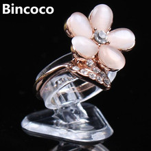 bincoco 2cm*2.5cm*2.2cm Clear view elastic-C circlePlastic Ring Display Stand Holder Rack Tabletop Ring's show frame 100 pieces(China)
