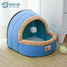 5 Colors Pet Dog Cat Bed Foldable Puppy  House With Toy Ball  Warm Soft Pet Cushion Dog Kennel Cat Castle Fast Shpping