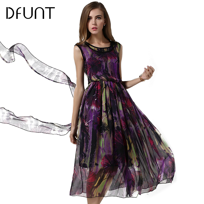 DFUNT Boho Summer Women Dresses Brand New Sleeveless High Waist Vestido O-Neck Print Elegant Long Dress Femme Clothes Size S-XL(China (Mainland))